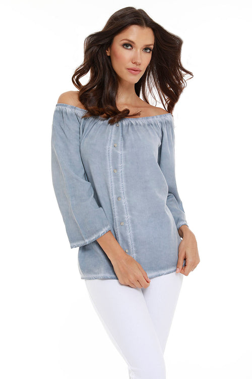 Luciana Button Off The Shoulder Top