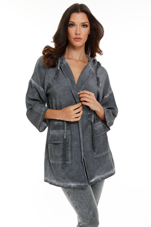 Jennifer Hooded Long Trench Coat