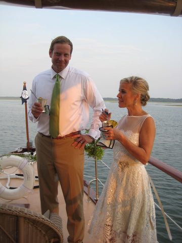 The Bride & Groom aboard the Lady Grace at Palmetto Bluff