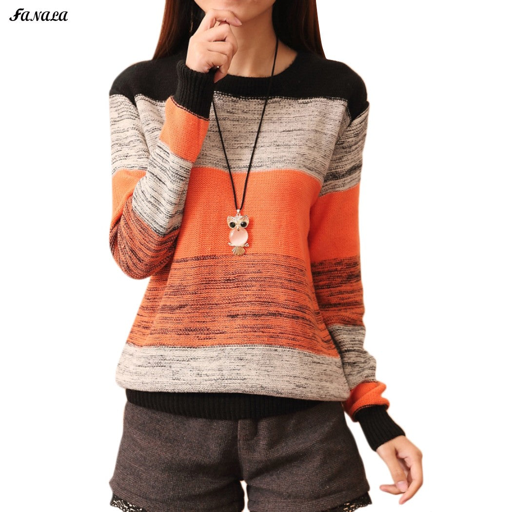 Sweater Pullover Women Winter Patchwork Knitted Sweater Top for Women