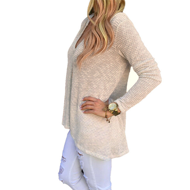 Women Pullover Sweaters Winter V Neck Knitted Loose Sweater Knitwear Hooded Solid Elastic Sweater