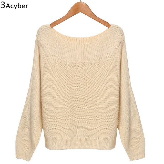 2016 autumn winter sweaters Off Shoulder fashion sexy sweater loose Pullover sweater batwing sleeve plus size sexy sweaters 58