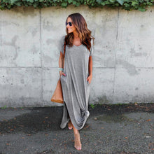Women Casual Long Dress Solid  Floor-Length Short Sleeves Comfortable Cotton T-shirt Women's Tunic