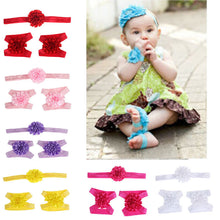 2017 3pcs Cute Foot Flower Barefoot Sandals+Headband  Set Solid Color  Elastic Hair Bands Cute Kids Headbands #LSW