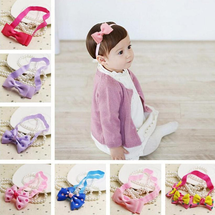 2~18 months Kids Fashionable  Girl hair accessories Hairband  Elastic Bowknot Headwear #LSN