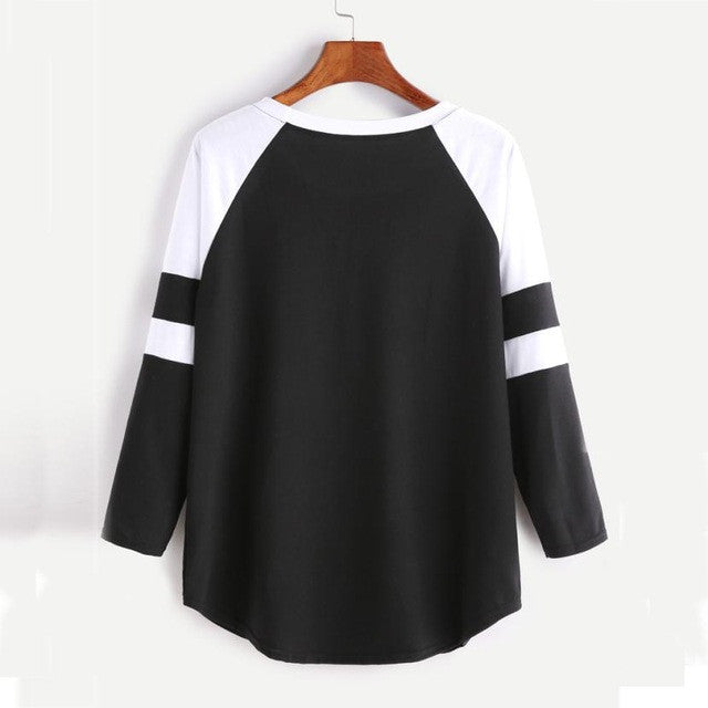 Womens Long Sleeve Black and White Patchwork Loose Splice Pullover Casual Shirt Tops