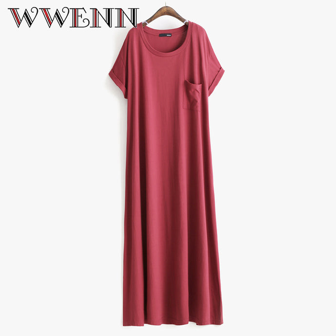 New Casual Women dress Street beat short sleeve T-shirt dress loose women's long dress