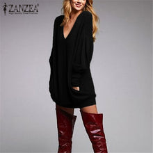 Autumn Winter Knitted Sweater Sexy Pullover Women Tops Loose  Causal V Neck Long Sleeve Jumper
