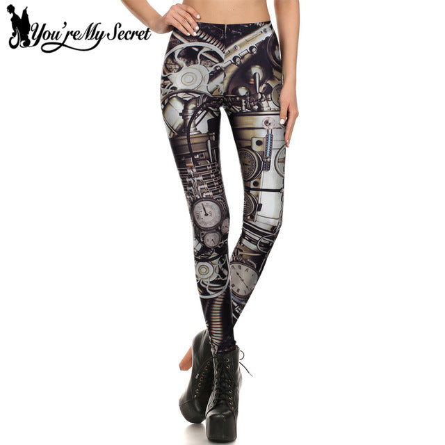 Steampunk Mechanical Dial Workout Leggings Women Gear Slim Women leggins Pants