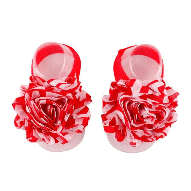 1Pair Baby new and high quality Infant Barefoot Toddler Foot Flower Band Newborn Elastic Cotton Girl Socks