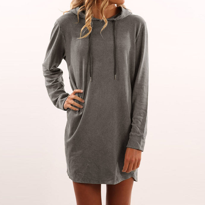 Warm Mini Short Style T-shirt Dress Women Hooded Long Sleeve Dresses Women's Clothing