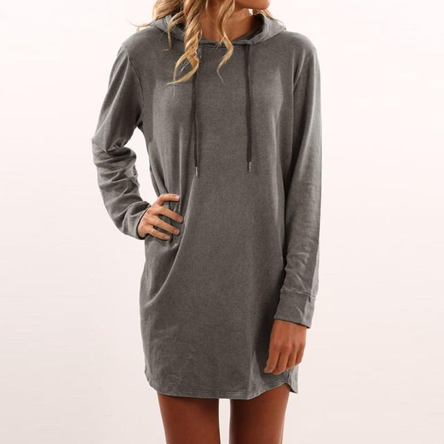 Warm Mini Short Style T-shirt Dress Women Hooded Long Sleeve Dresses  Women s Clothing e6a59bb71c