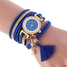 Wrap Around Fashion Weave Leather Bracelet Lady Womans Wrist Watch