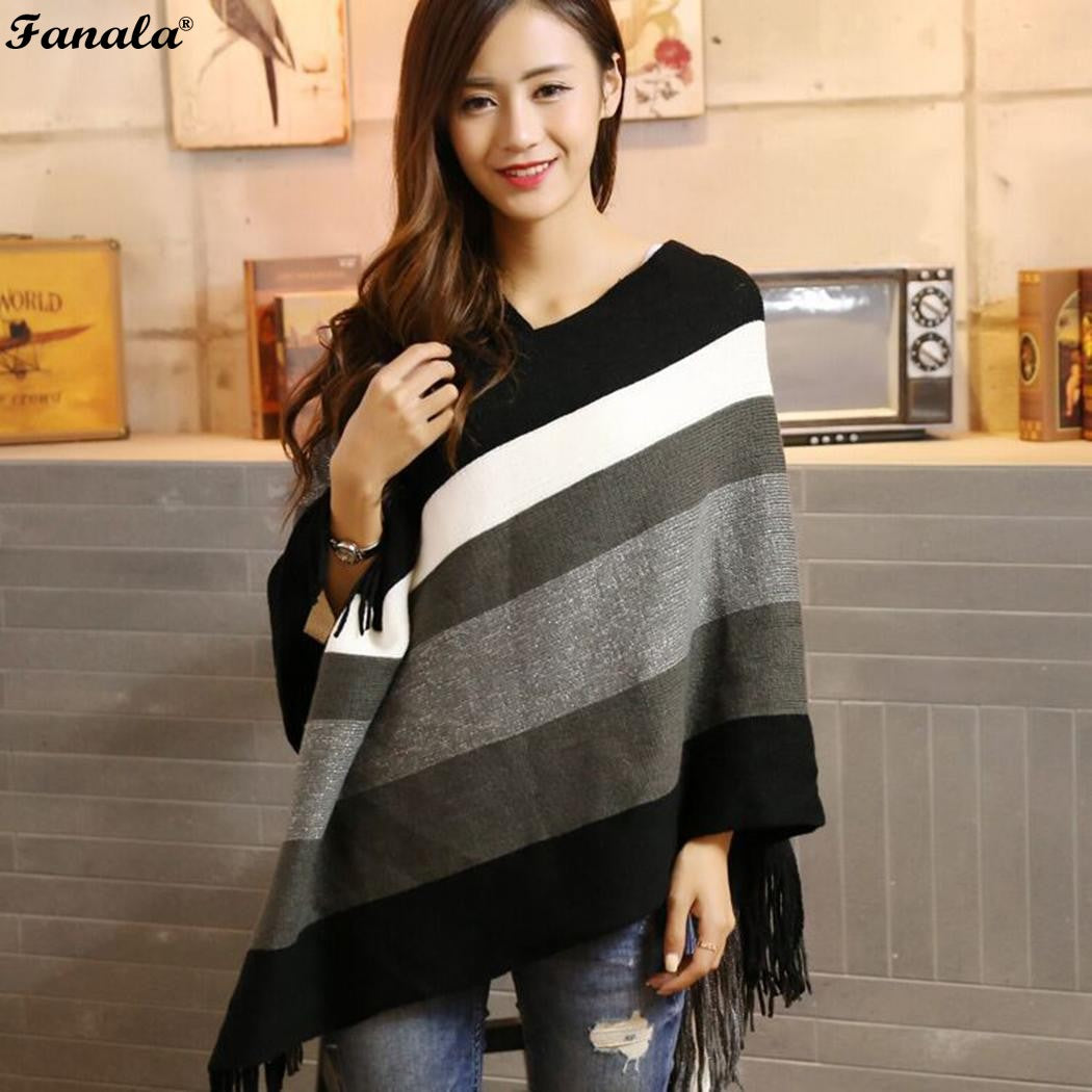 Sweater Poncho Knitted Sweater Women Fashion Striped Patchwork Women Sweaters and Pullover