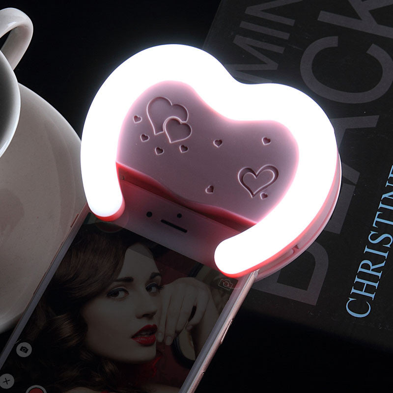 2016 Universal Heart Shaped Mini LED Flash Smartphone Selfie Ring Light Portable Round Flashes 3500K-6500K for iPhone Samsung