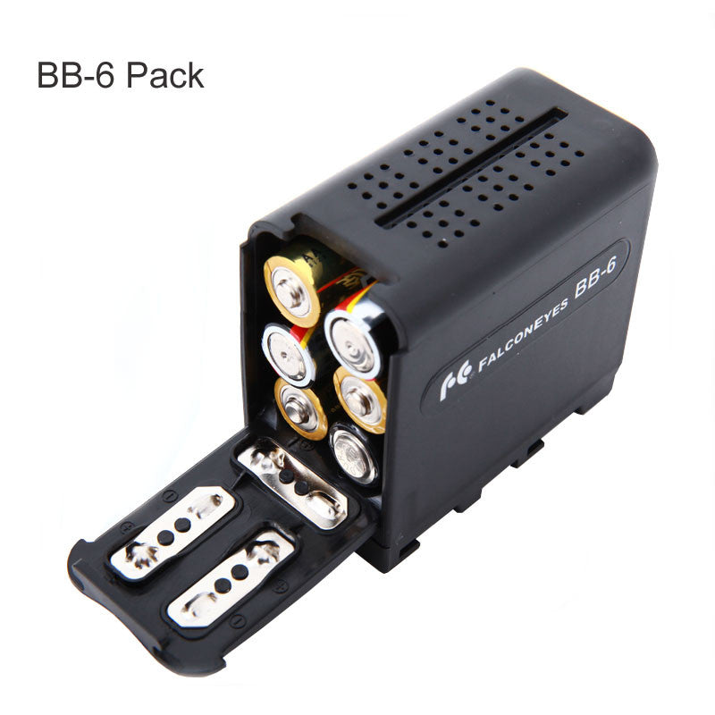 FALCON EYES BB-6 6pcs AA Battery Case Pack Power as NP-F970 for LED Video Lamp Light Panels or Monitor YN300 III,DV-160V