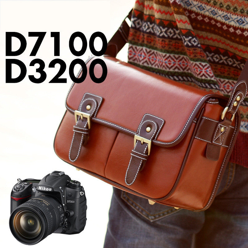 Luxury Camera Case Handbag Waterproof Shoulder Messenger Bag Fashion Retro PU Leather DSLR Case Gadget Bag