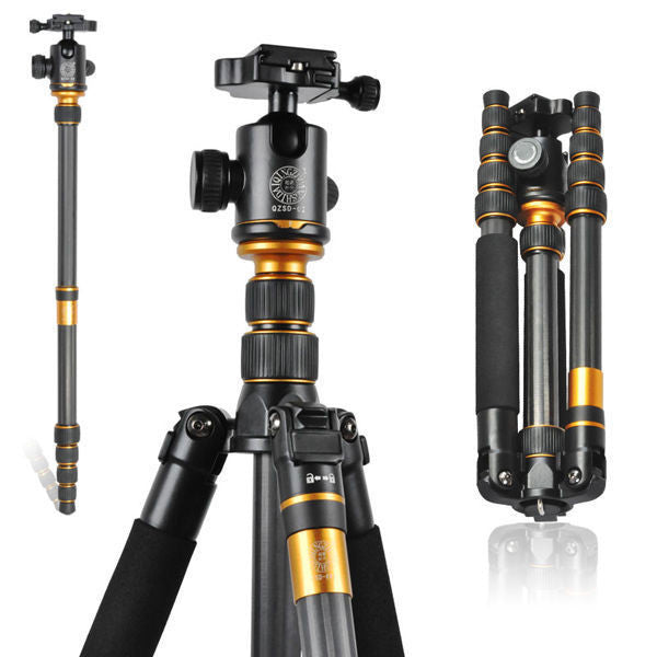 Q-666C Professional Carbon Fiber Tripod For SLR Camera / Portable Traveling Tripod + Head Monopod Changeable / Max Loading 15Kg