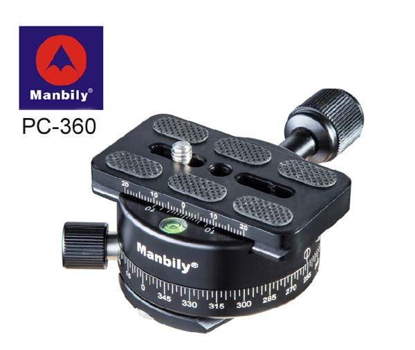 Manbily PC-360 Professional Tripod Heads,Universal Pan Head with Fast Mounting Plate