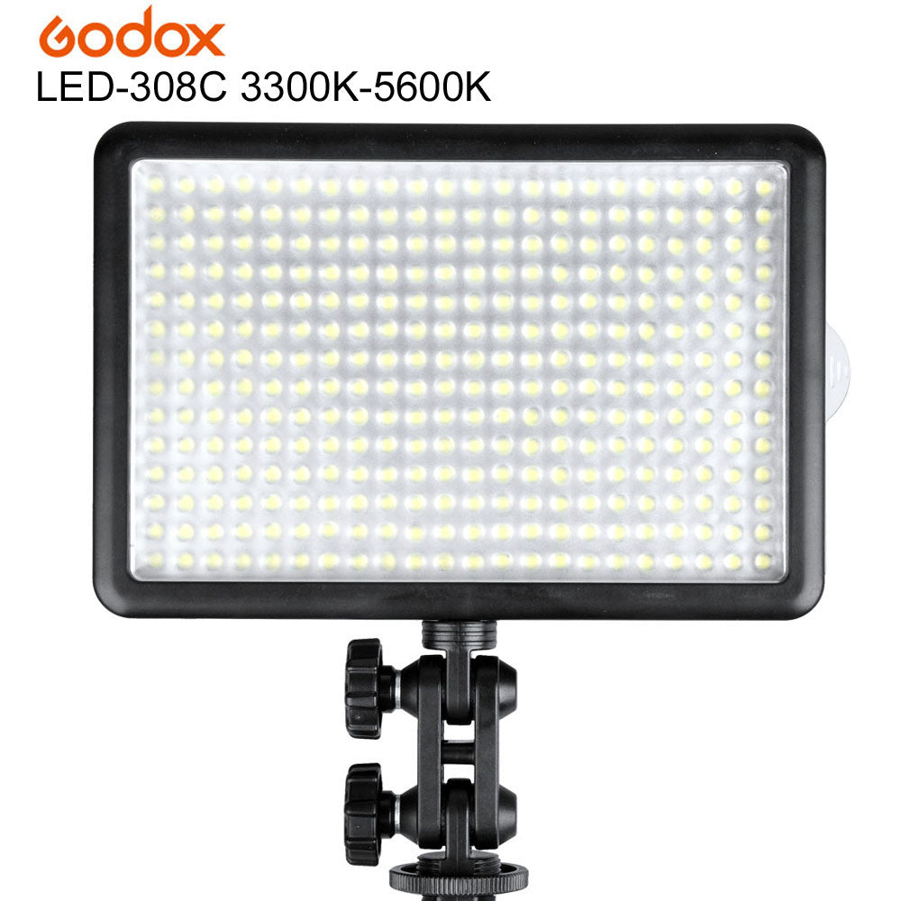 Godox LED 308C 308 LEDs Professional LED Video (3300K-5600K) Light Lighting with Remote Control for Canon Nikon Camera Camcorder