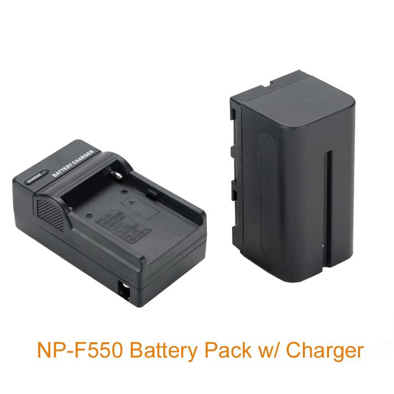 2300mAh NP-F550 Battery Pack with Charger (US or EU plug) for YN600 YN760 YN300 LED CN-126 CN-160 Light Lamp Aputure Godox LED