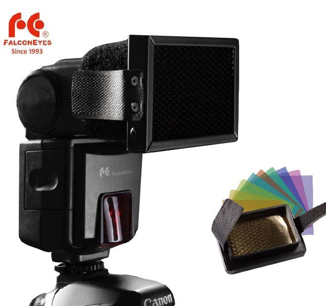 FALCONEYES Honeycomb Grip with 10 color flash gels set for Canon Nikon YONGNUO Metz Nissin Flash Gun Speedlites
