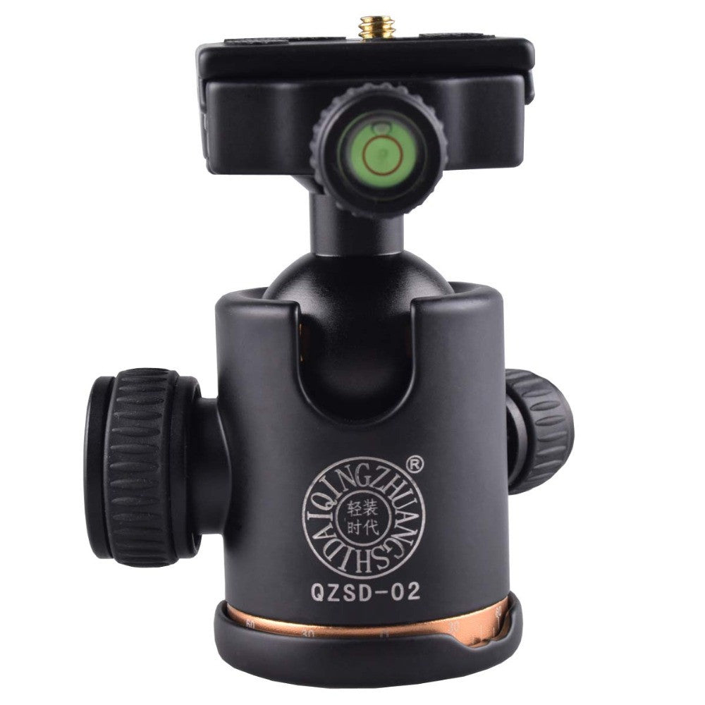 QZSD-02 Aluminum Tripod Ball Head Ballhead + Quick Release Plate for Pro Camera Tripod, Max load to 15kg