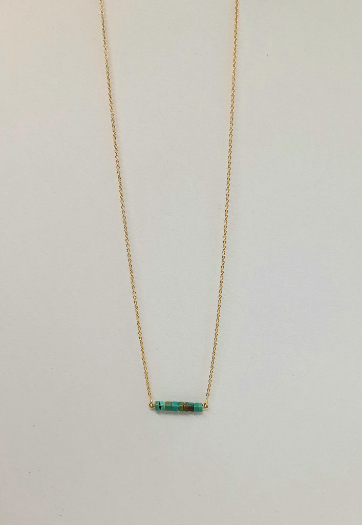 Green turquoise in gold design 1