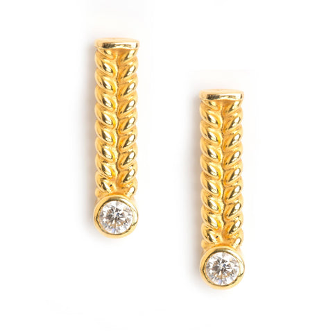 """Jadela Yellow Gold Earrings With Diamond"""