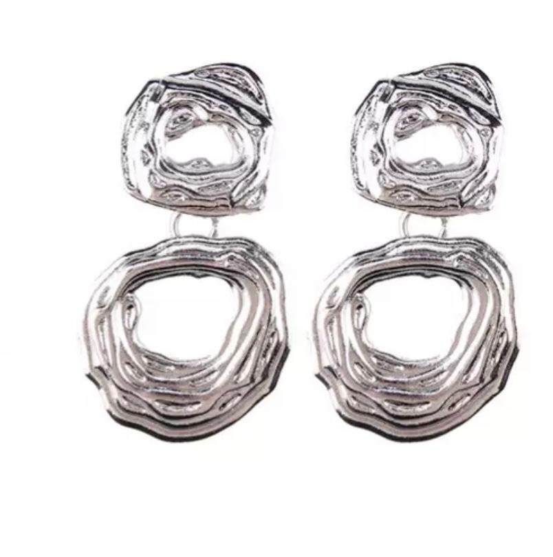 Silver Round Circle W/ Dangled Round Circle Earring