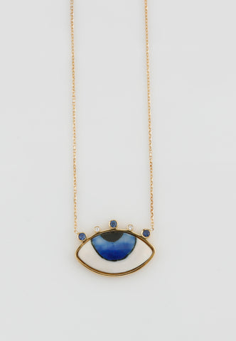 """Diamond and Sapphire Necklace in Gold"""