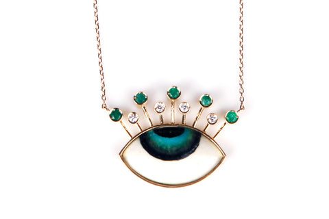 """Diamonds and Emeralds Tiara Necklace"""