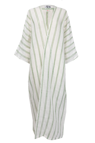 Green & White Striped Linen Abaya