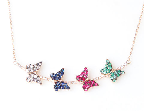 """Butterfly Necklace in Diamonds and Gold"""