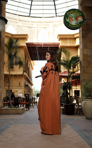 Royal Orange Diamond Silk Abaya
