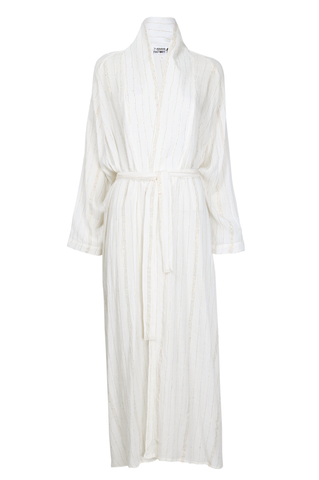White & Golden Striped Abaya