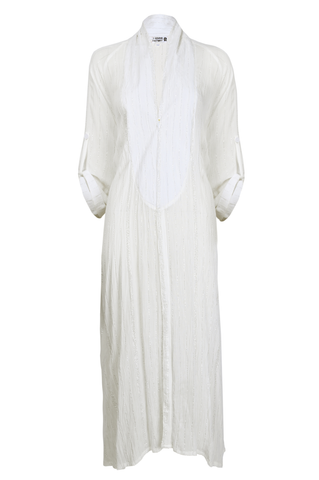 White & Silver Striped Abaya