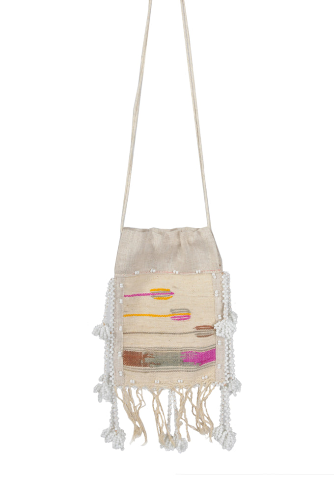 White Embroidered Crossbody Pouch