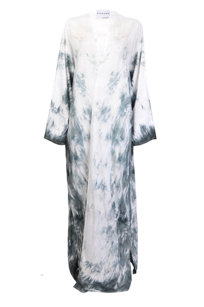 White & Navy Blue Tie Dye Abaya