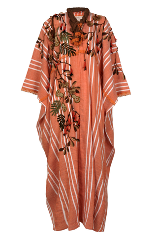 """Orange & White Striped Floral Crochet Kaftan"""