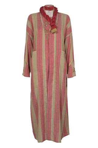 """Red & Beige Striped Sirma Kaftan"""