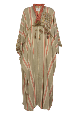 """Beige & Orange Striped Antique Patch Kaftan"""