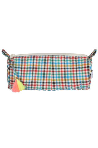 """Red Green Blue Flannel Make up/ Pencil Case"""