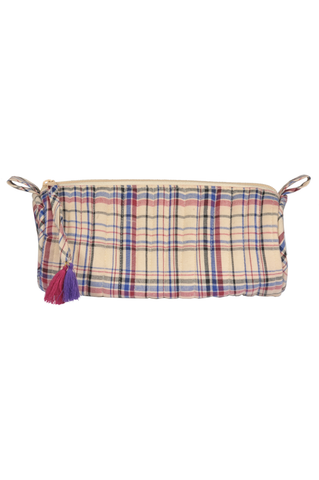 """Beige and Blue Flannel Make up/ Pencil Case"""