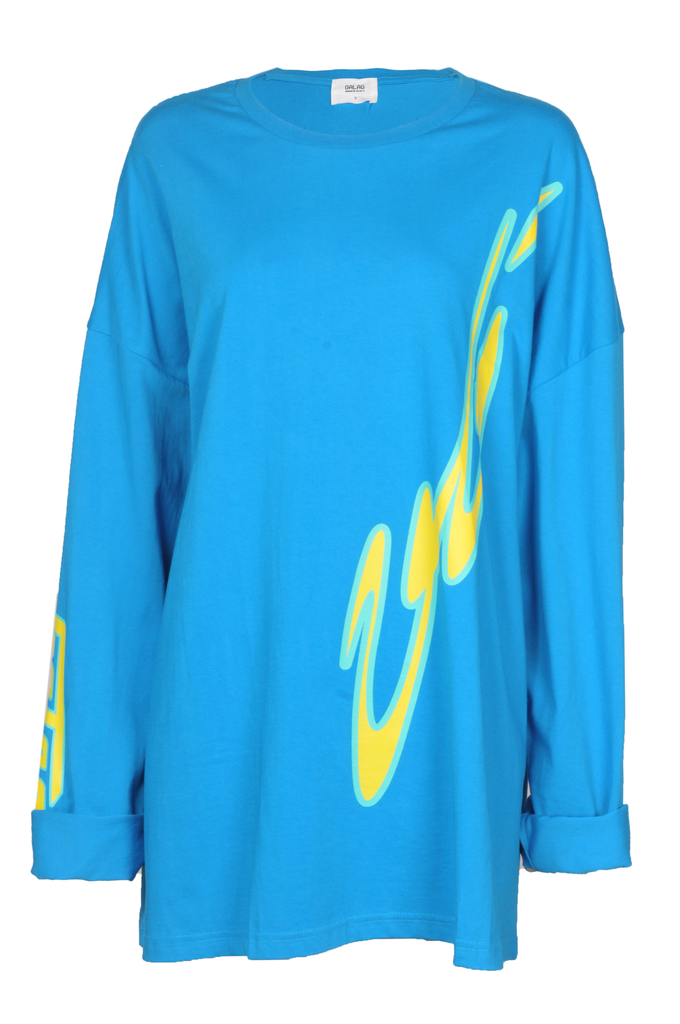 """Blue T Shirt with Yellow and Green Print"""