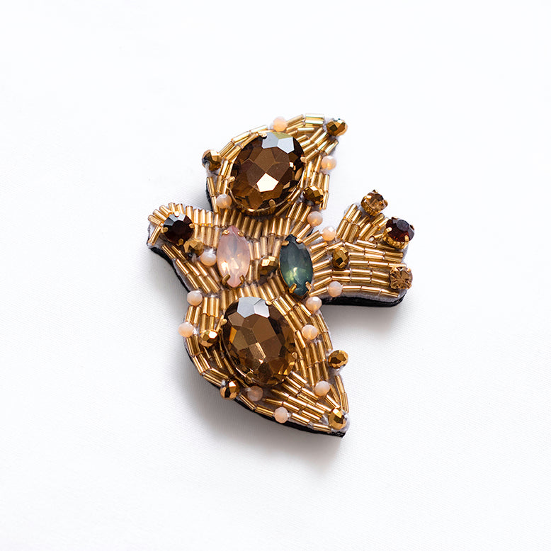 Gold Jeweled Birds Brooch