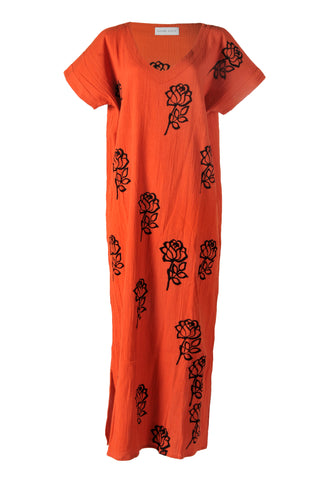 Orange Rose Printed Kaftan