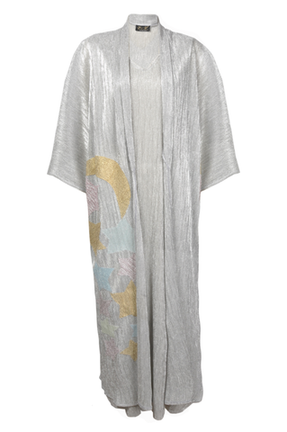 Twin Set Silver Sheer Fabric Kimono with Stars Embroidery with Undergarment