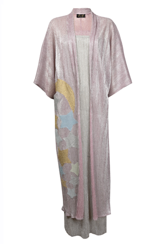 Twin Set Dusty Pink Kimono with Stars Embroidery with Undergarment