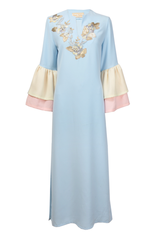 Light Blue Silk Thobe with Ruffled Sleeves